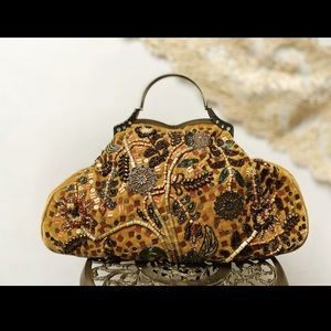 Victorian Style Mustard Velvet Bag